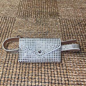 White silver stud fanny pack waist belt brand new